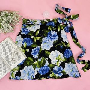 American apparel blue floral wrap skirt